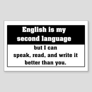 Second Language English Rectangle Sticker