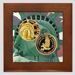 Statue of Liberty Gold Five Framed Tile