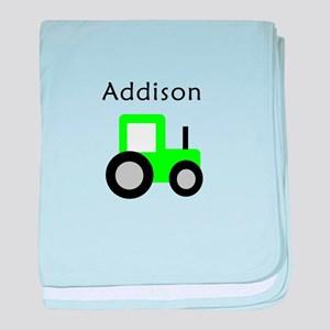 Addison - Lime Tractor baby blanket
