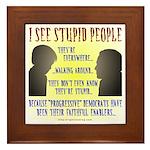 Stupid People Framed Tile
