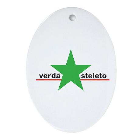 Little Green Star Ornament (Oval)