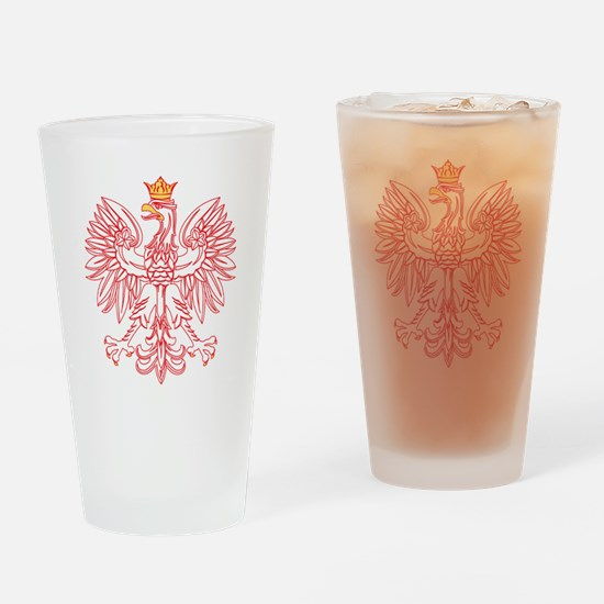 Polish Eagle Outlined In Red Pint Glass