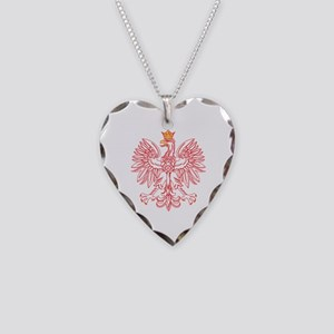 Polish Eagle Outlined In Red Necklace Heart Charm