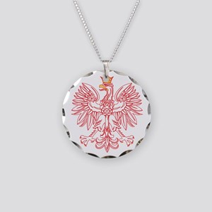 Polish Eagle Outlined In Red Necklace Circle Charm