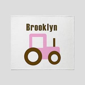 Brooklyn - Pink Tractor Throw Blanket