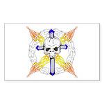 Cross Skull Rectangle Sticker