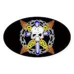 Cross Skull(black) Oval Sticker