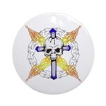 Cross Skull Ornament (Round)