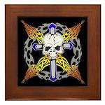 Cross Skull(black) Framed Tile