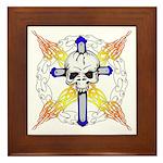 Cross Skull Framed Tile
