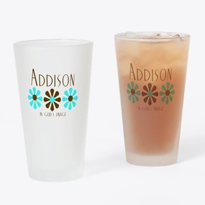 Addison - Blue/Brown Flowers Pint Glass