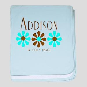 Addison - Blue/Brown Flowers baby blanket