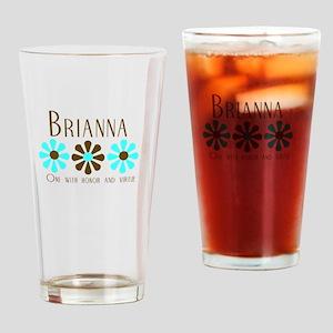 Brianna - Blue/Brown Flowers Pint Glass