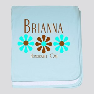 Brianna - Blue/Brown Flowers baby blanket