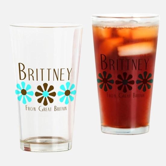 Brittney - Blue/Brown Flowers Pint Glass