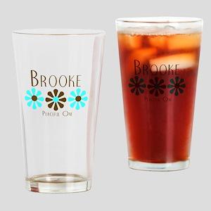 Brooke - Blue/Brown Flowers Pint Glass
