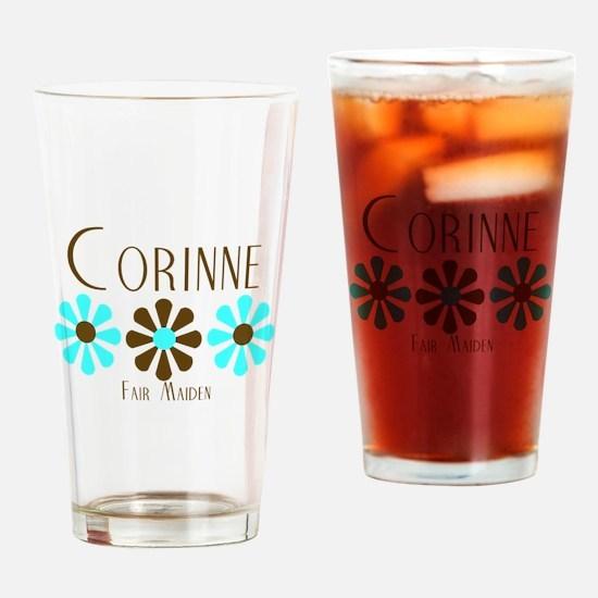Corinne - Blue/Brown Flowers Pint Glass