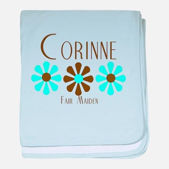 Corinne - Blue/Brown Flowers baby blanket