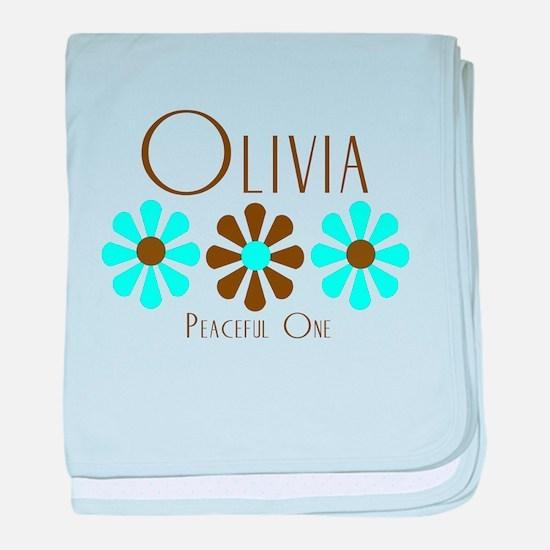 Olivia - Blue/Brown Flowers baby blanket