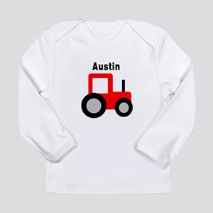 Austin - Red Tractor Long Sleeve Infant T-Shirt