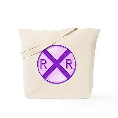 Railroad Crossing Circle Tote Bag