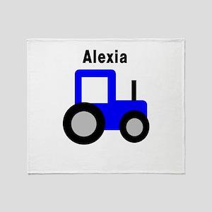 Alexia - Blue Tractor Throw Blanket