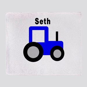 Seth - Blue Tractor Throw Blanket