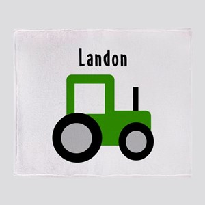 Landon - Green Tractor Throw Blanket