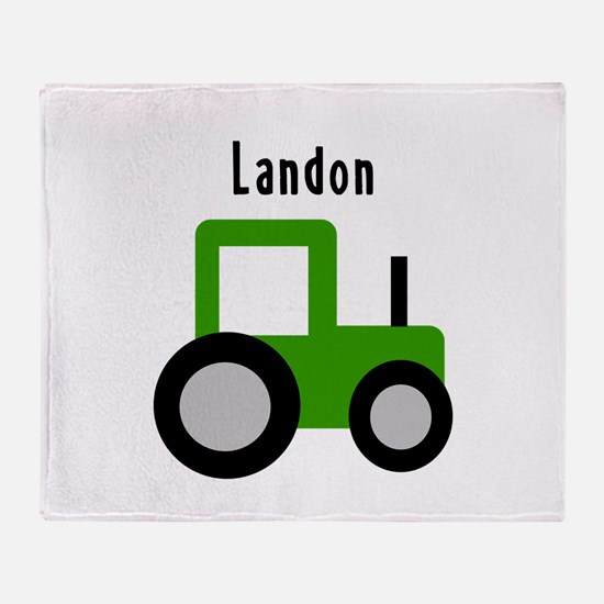 Landon - Green Tractor Throw Blanket
