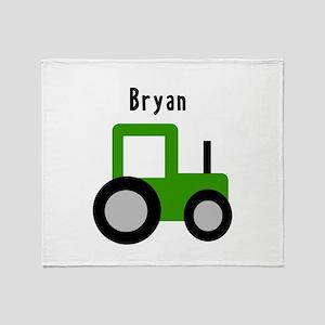 Bryan - Green Tractor Throw Blanket