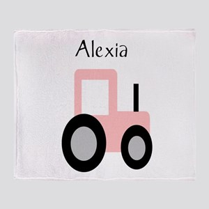 Alexia - Pink Tractor Throw Blanket