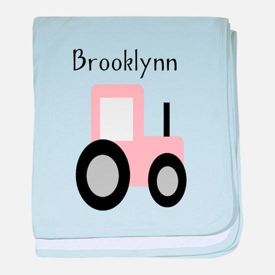 Brooklynn - Pink Tractor baby blanket