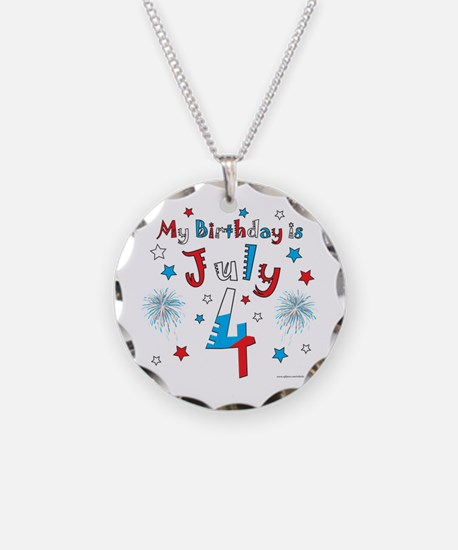 July 4th Birthday Red, White, Blue Necklace