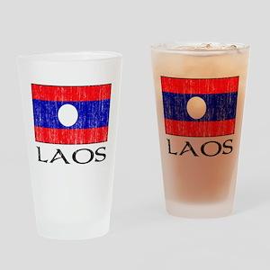 Laos Flag Pint Glass