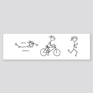 Triathlon Girl Black No Words Sticker (Bumper)