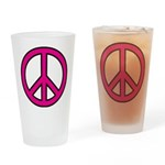 Pink Peace Sign Drinking Glass