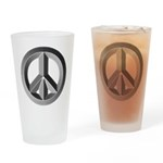 Silver Peace Sign Drinking Glass