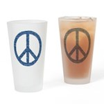 Blue Peace Sign Drinking Glass