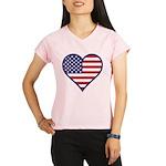 American Flag Heart Performance Dry T-Shirt