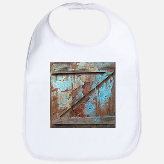 distressed turquoise barn wood Baby Bib