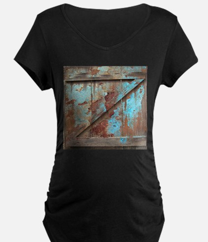 distressed turquoise barn wood Maternity T-Shirt