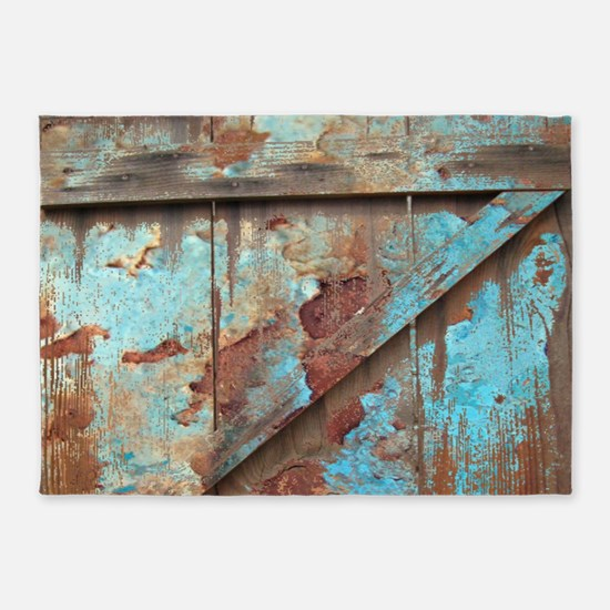 distressed turquoise barn wood 5'x7'Area Rug