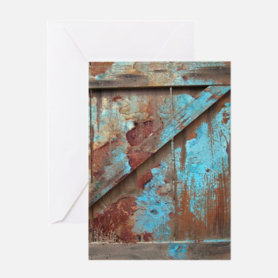 distressed turquoise barn wood Greeting Cards