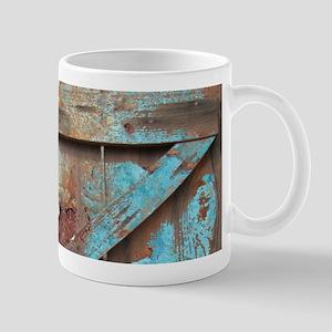 distressed turquoise barn wood Mugs