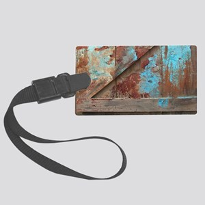 distressed turquoise barn wood Large Luggage Tag