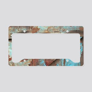 distressed turquoise barn woo License Plate Holder