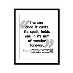 Cousteau Sea Quote Framed Panel Print