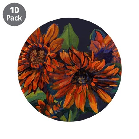 "Flowers For Vincent (black) 3.5"" Button (10 pack)"