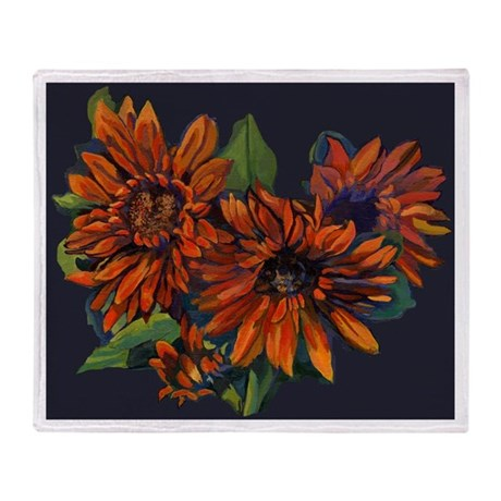 Flowers For Vincent (black) Throw Blanket