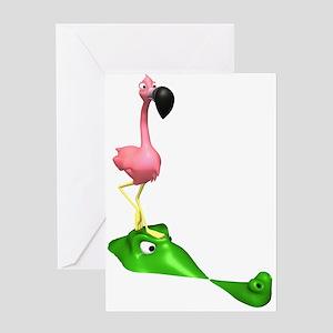 Flamingo & Gator Greeting Card